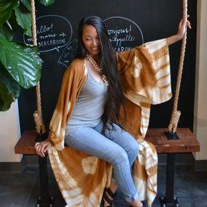 Free People Spellbound Tie Dye Kimono Mustard